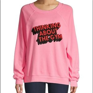 WILDFOX Thinking About The Gym Graphic Pullover M